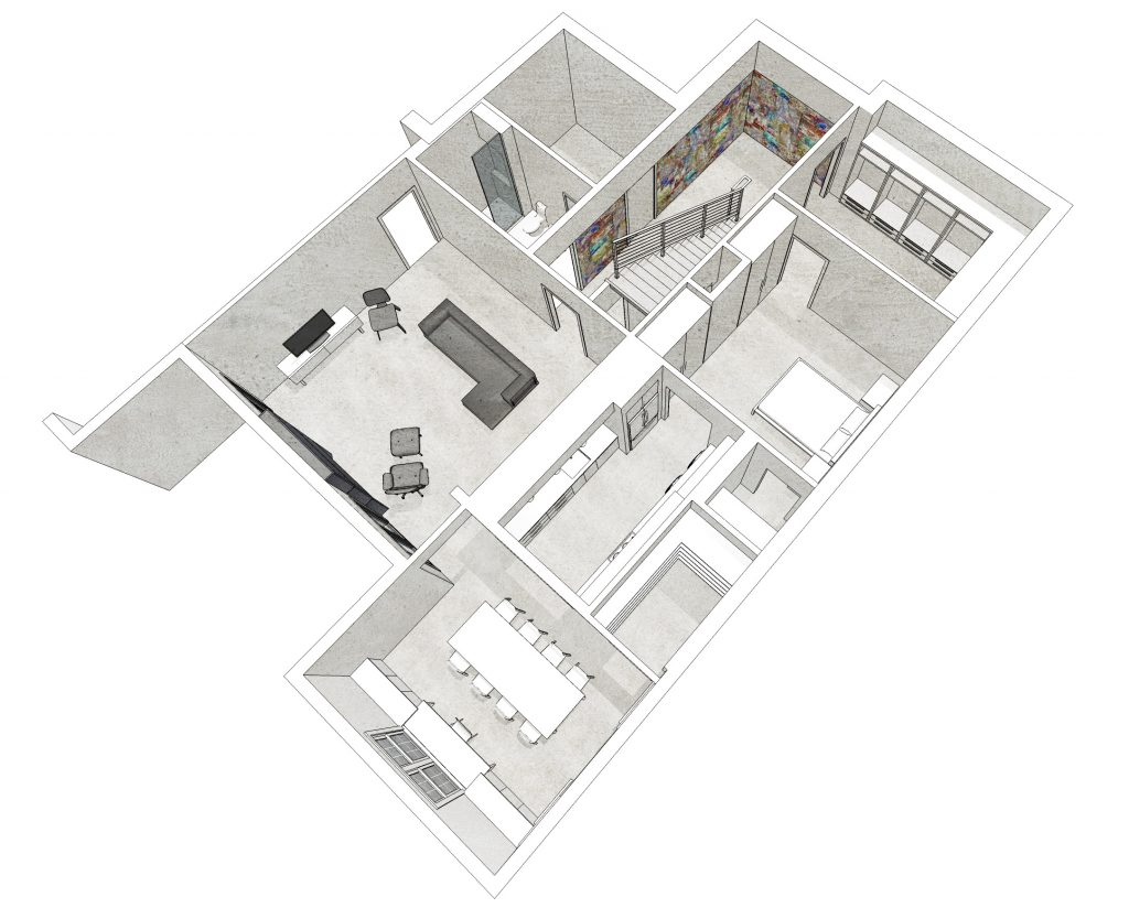 basement renovation floorplan rendering