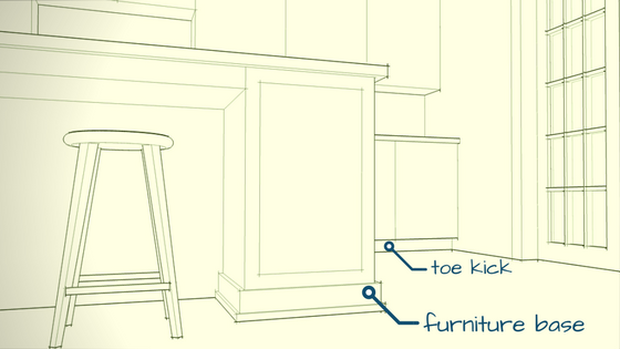 Cabinet toe kick versus furniture base